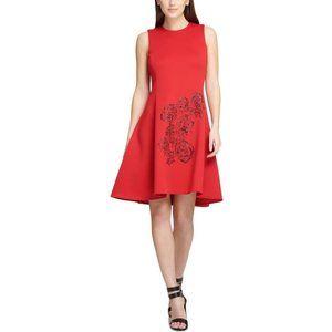 DKNY Womens Embellished Sleeveless Scuba Dress